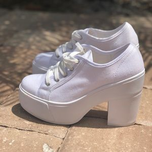 Shelly's London White Textile Canvas Lace Up